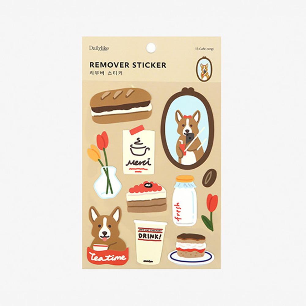 Package - Dailylike Cafe corgi removable paper deco sticker