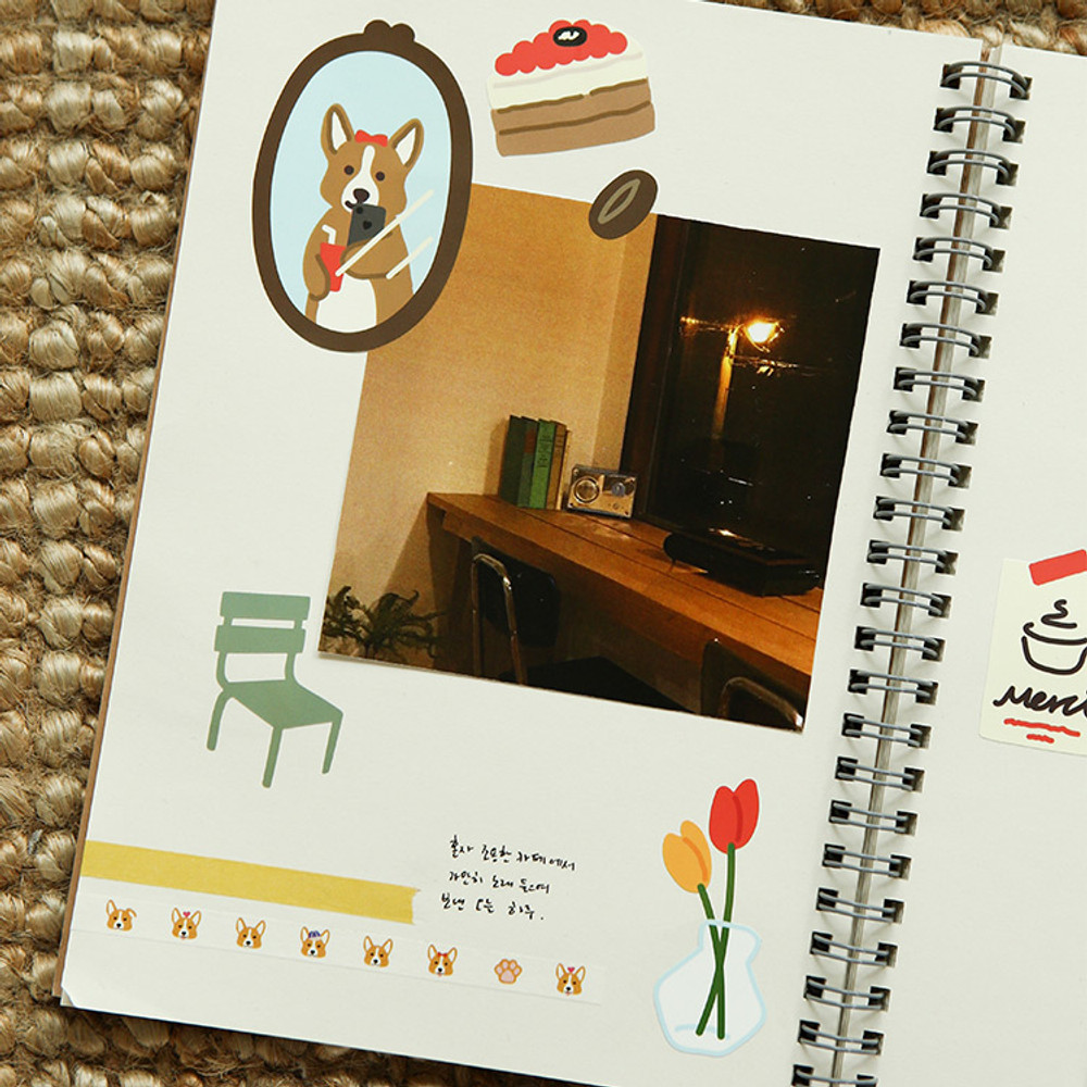 Usage example - Dailylike Cafe corgi removable paper deco sticker