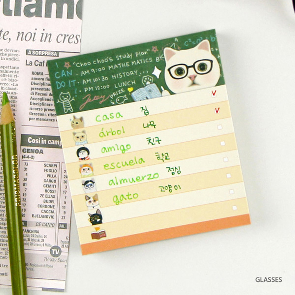 Glasses - Jetoy choo choo cat memo notes writing pad ver2