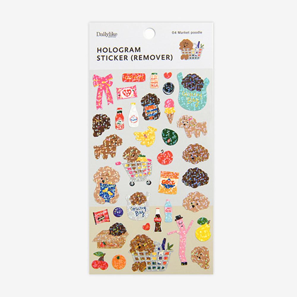 Package - Dailylike Market Poodle hologram removable sticker