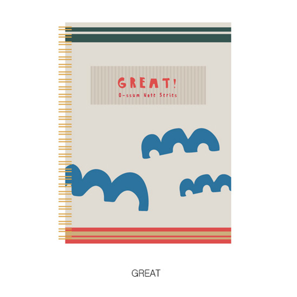 Great - Oh-ssumthing O-ssum spiral lined grid blank notebook