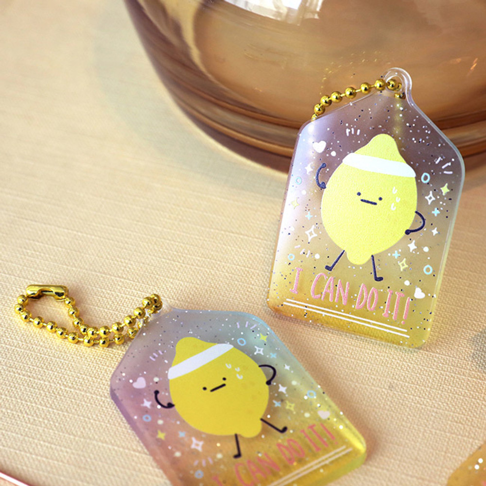 I can do it - Oh-ssumthing O-ssum shiny charm with chain strap