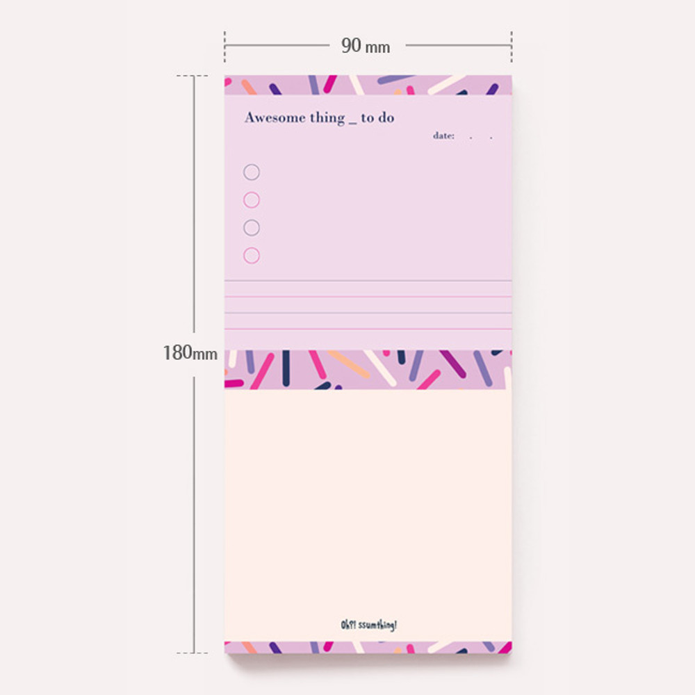 Size - Oh-ssumthing O-ssum memo notepad 918 with the perforated line