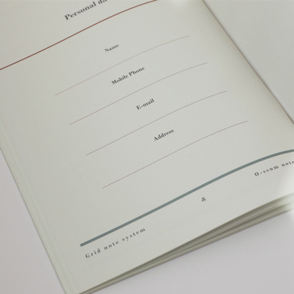 Personal data - Oh-ssumthing O-ssum A5 cornell lined daily grid blank notebook