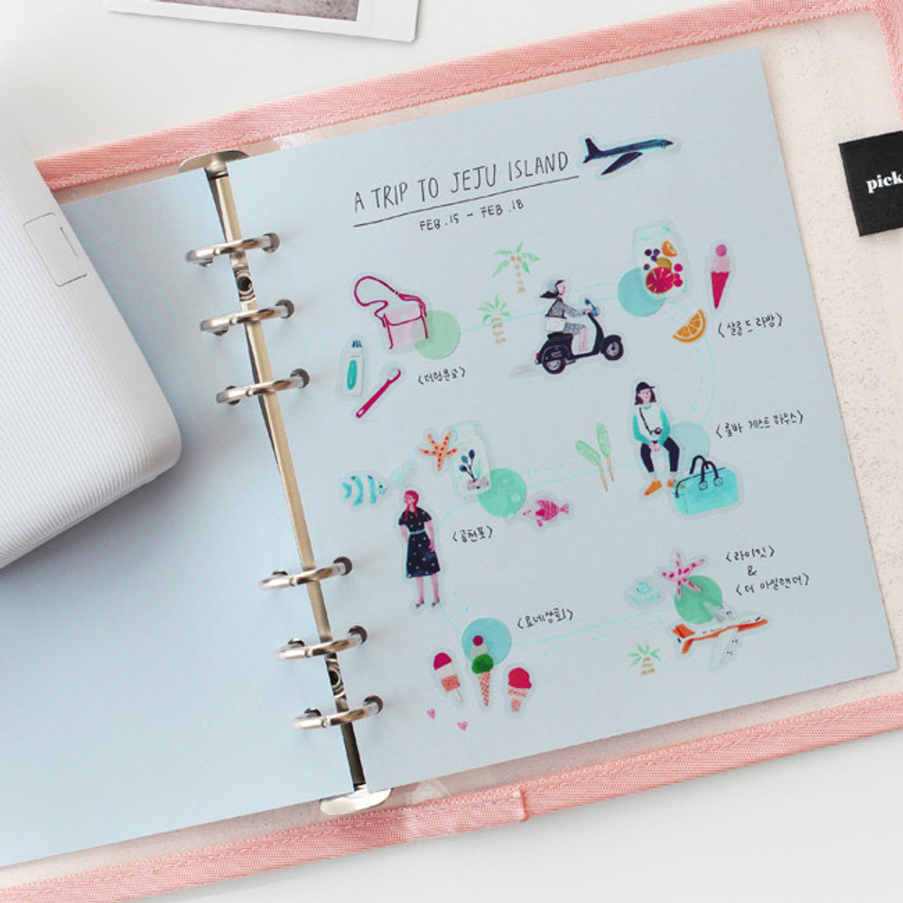 Pale blue - 2NUL Color A6 wide 6-ring blank notebook refill set