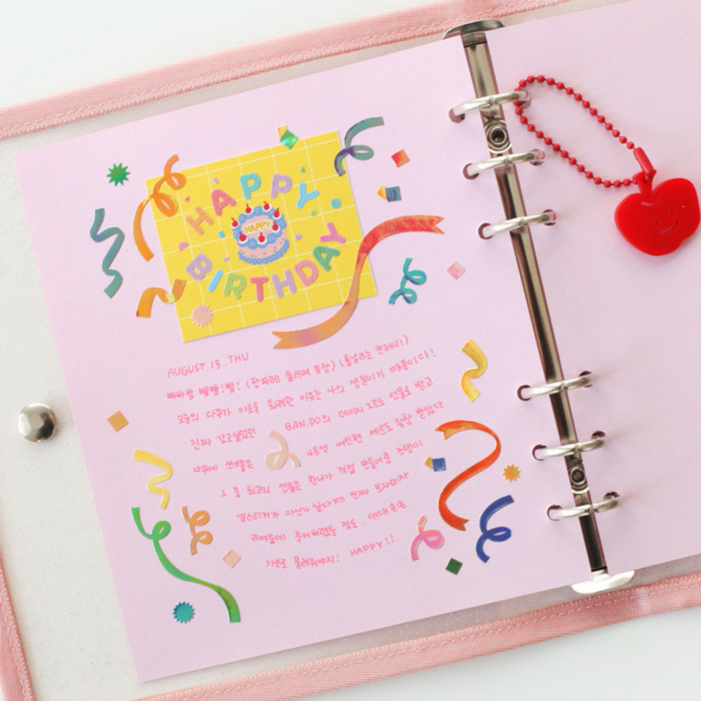 Pink - 2NUL Color A6 wide 6-ring blank notebook refill set