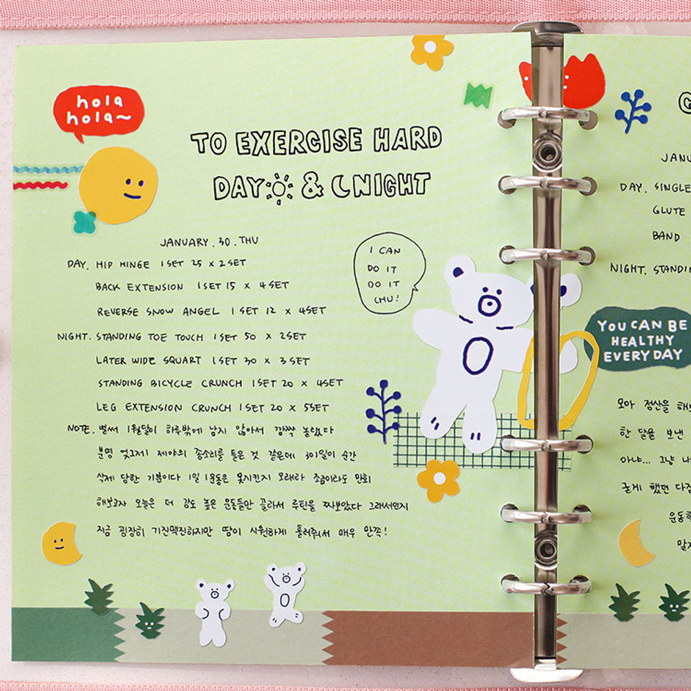 Lime - 2NUL Color A6 wide 6-ring blank notebook refill set