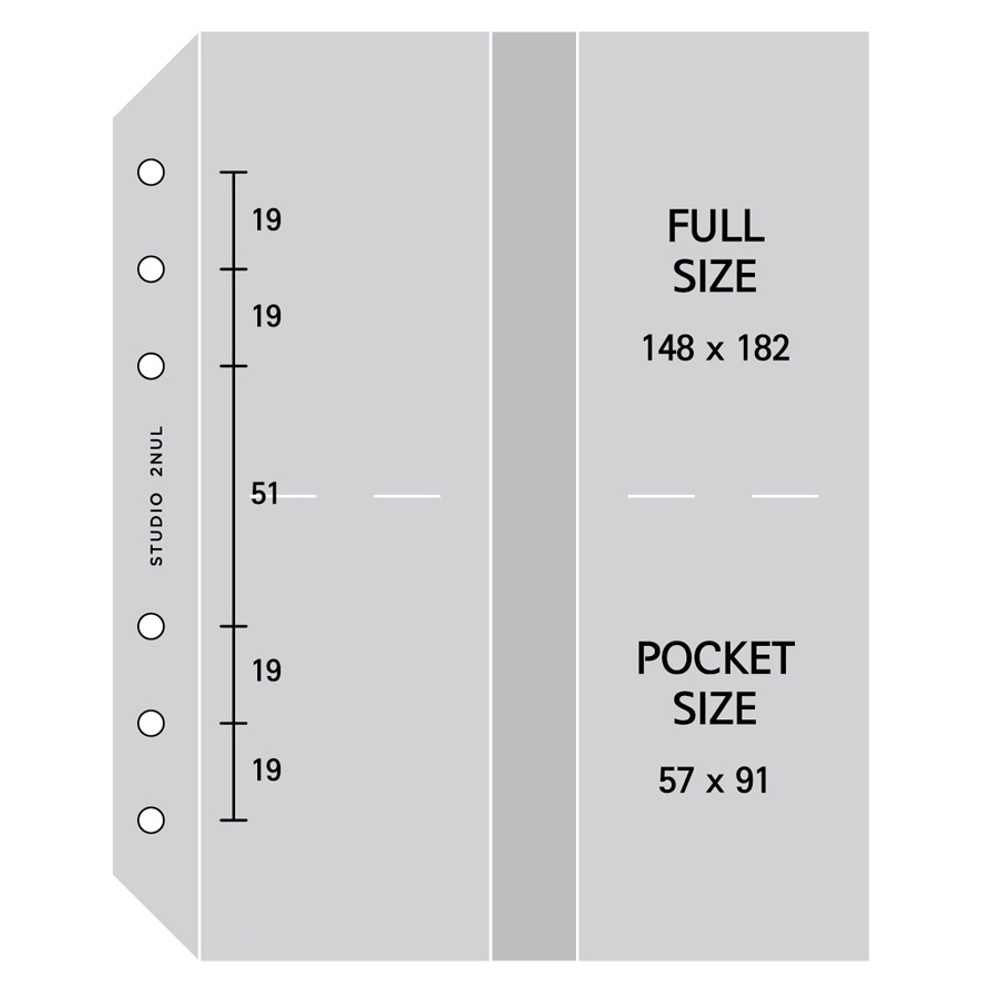 Size - 2NUL Photo 8 pockets for A6 wide 6-ring binder