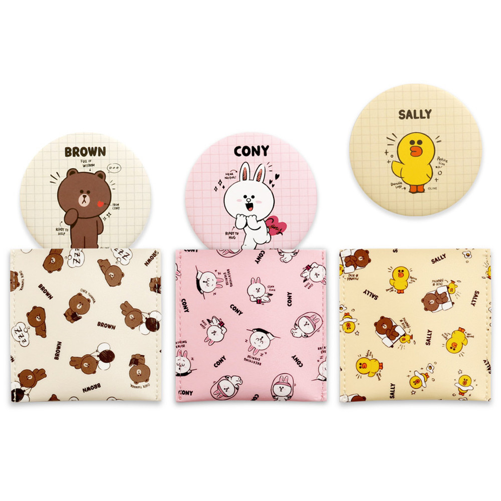 Monopoly Line friends round mirror with cute pattern pocket
