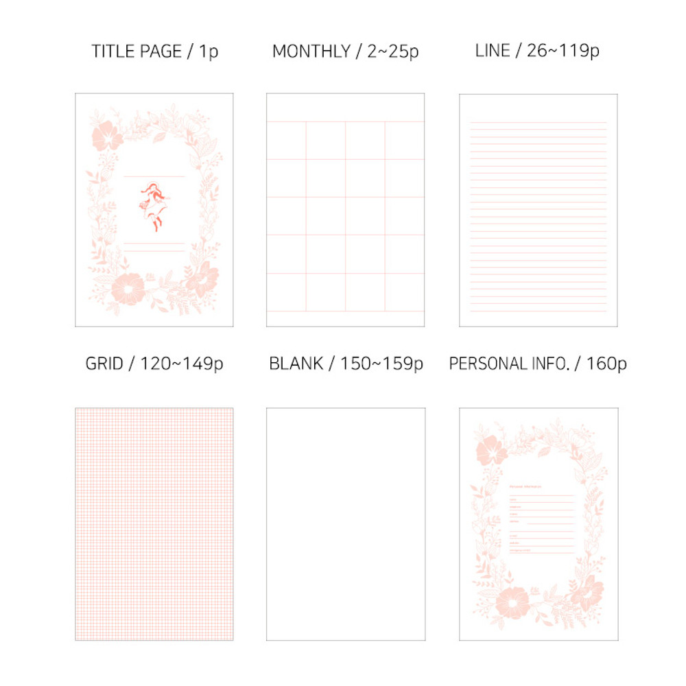 Pages - Anne small hardcover undated monthly planner notebook