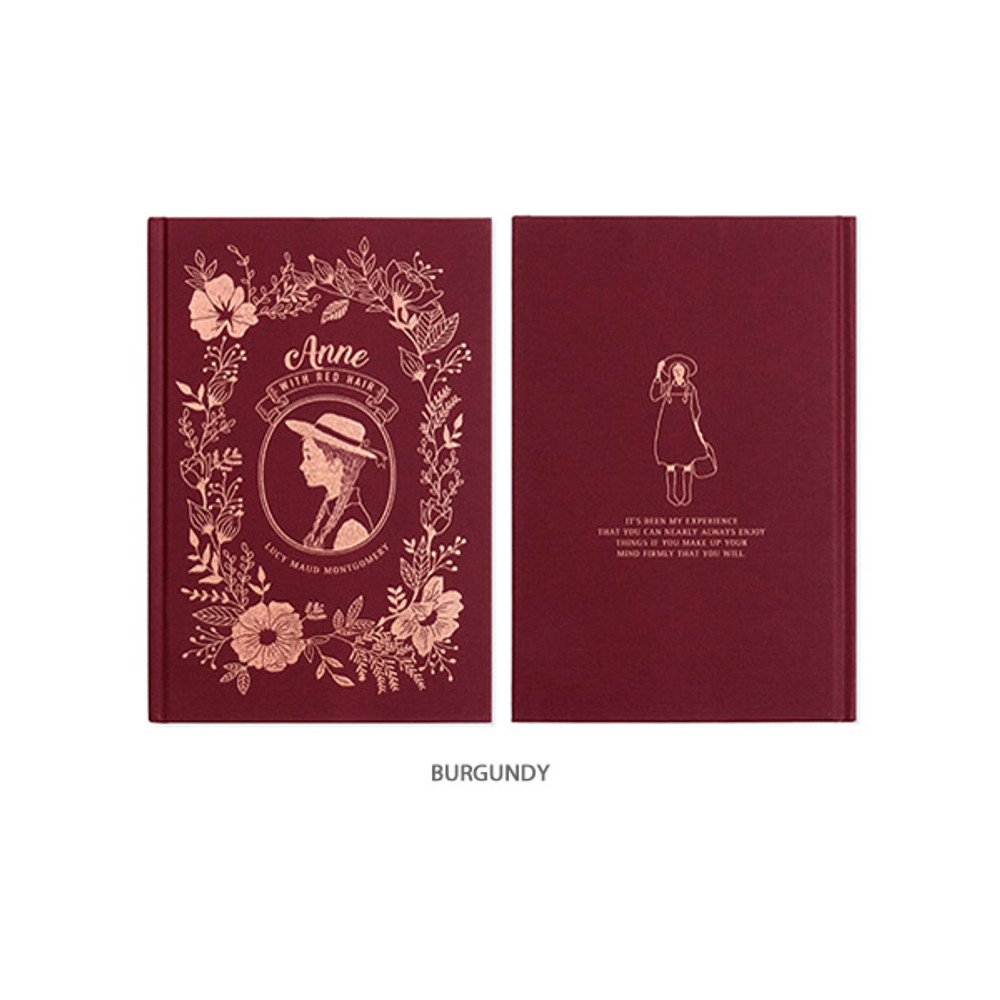 Burgundy - Anne large hardcover undated monthly planner notebook