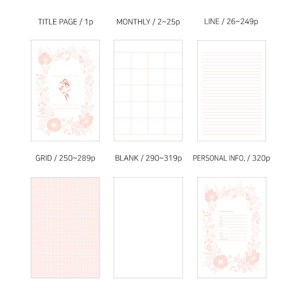Pages - Anne large hardcover undated monthly planner notebook