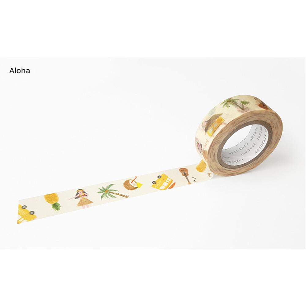 Aloha - O-CHECK aDecorative craft 15mm X 10m masking tape