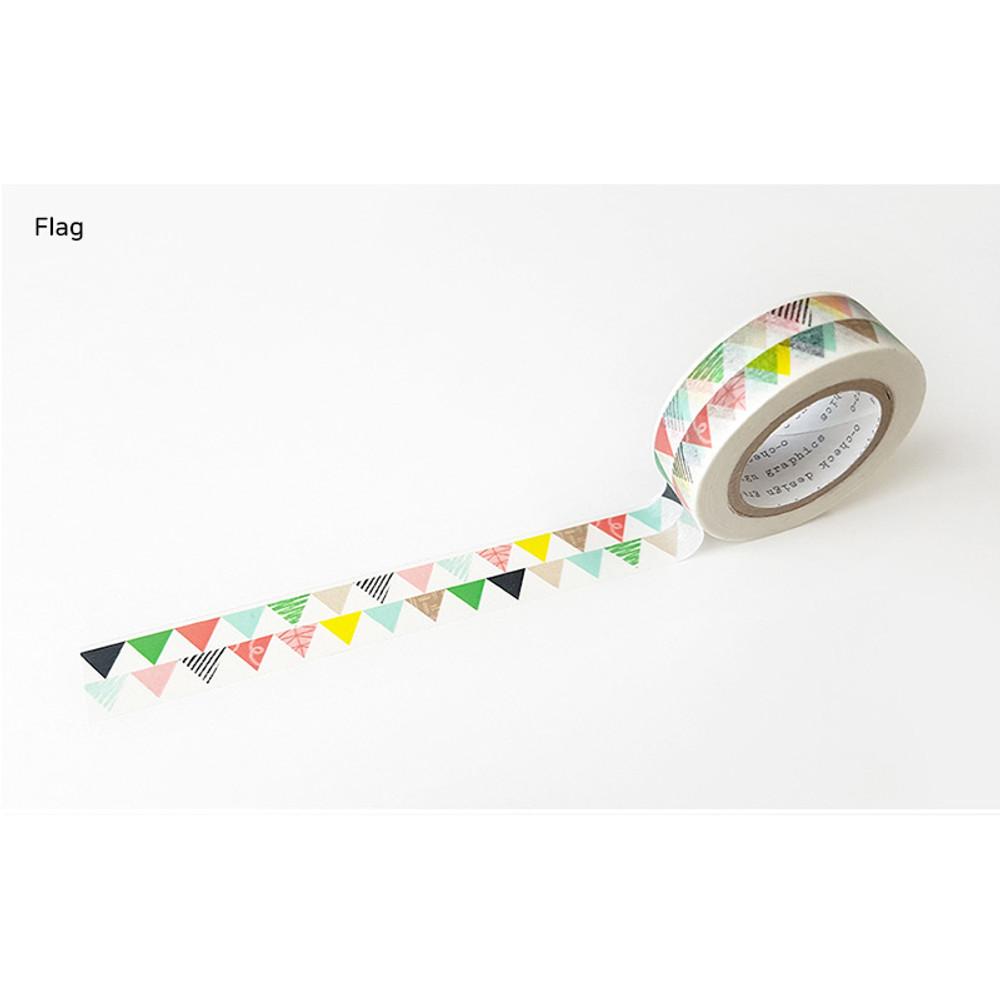 Flag - O-CHECK aDecorative craft 15mm X 10m masking tape