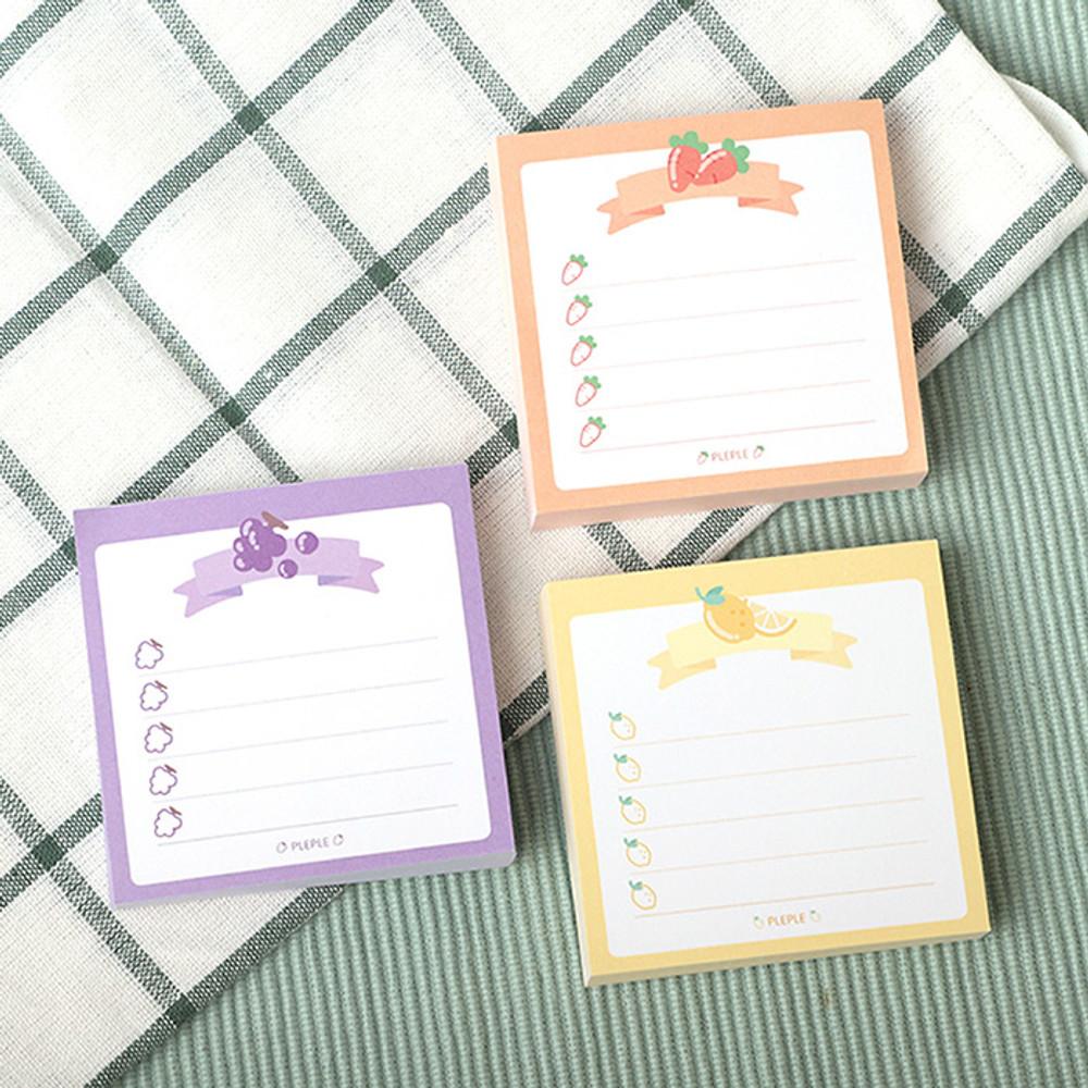 Usage example - PLEPLE Fruits ribbon memo notes checklist notepad