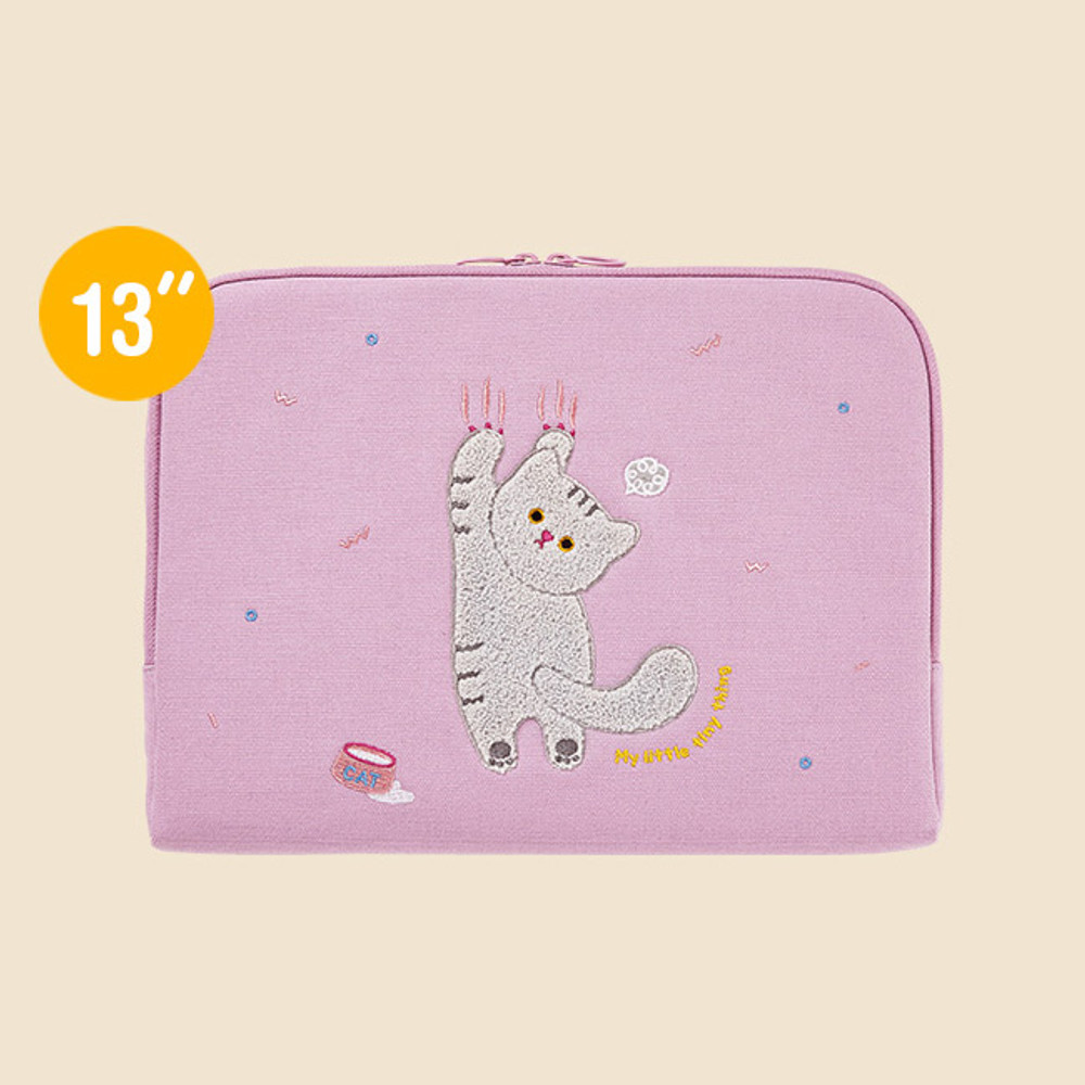 13 inches - Milk cat boucle canvas iPad laptop sleeve pouch case