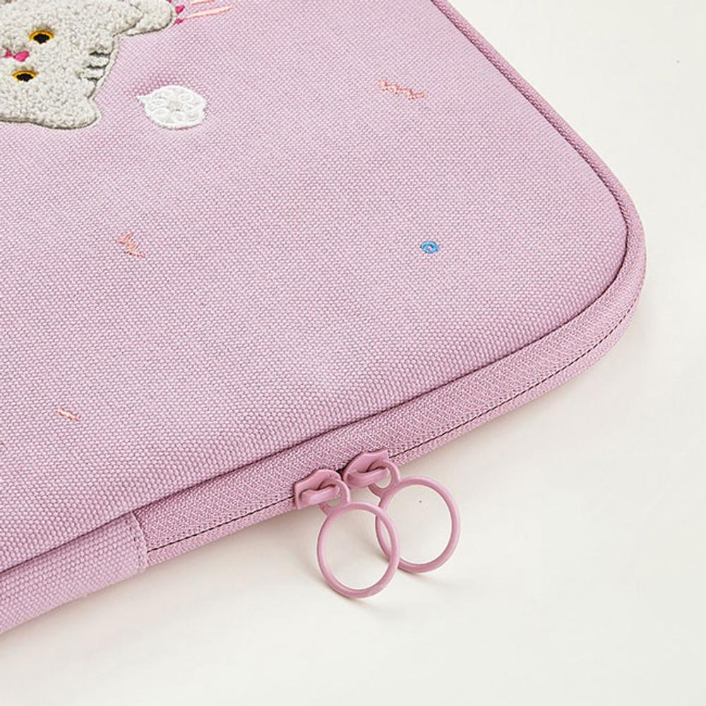 Double zip closure - Milk cat boucle canvas iPad laptop sleeve pouch case