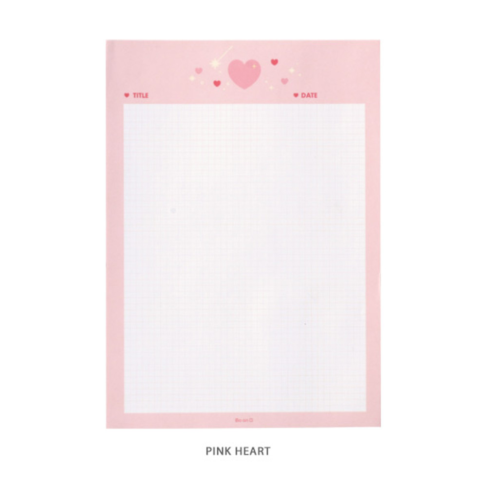 Pink Heart - After The Rain Twinkle B5 size grid memo notepad