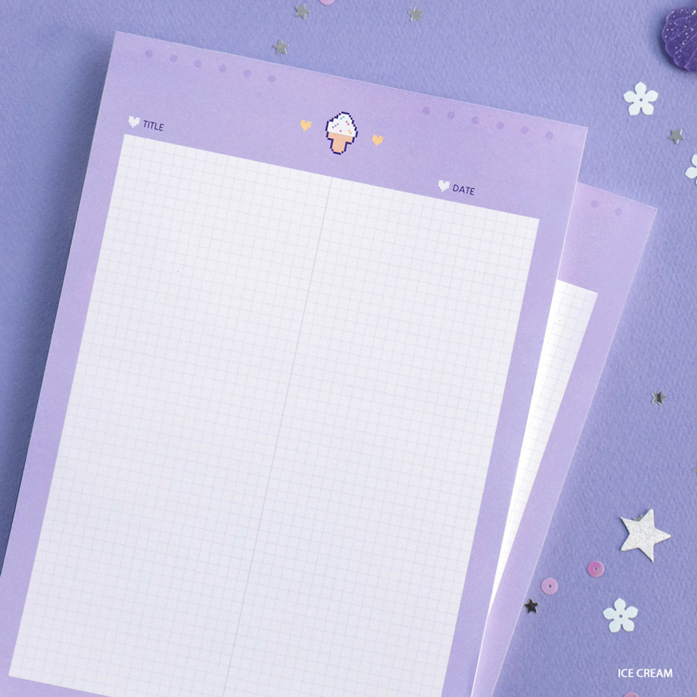 Ice Cream - ICONIC Sweet B5 size grid notes memo notepad