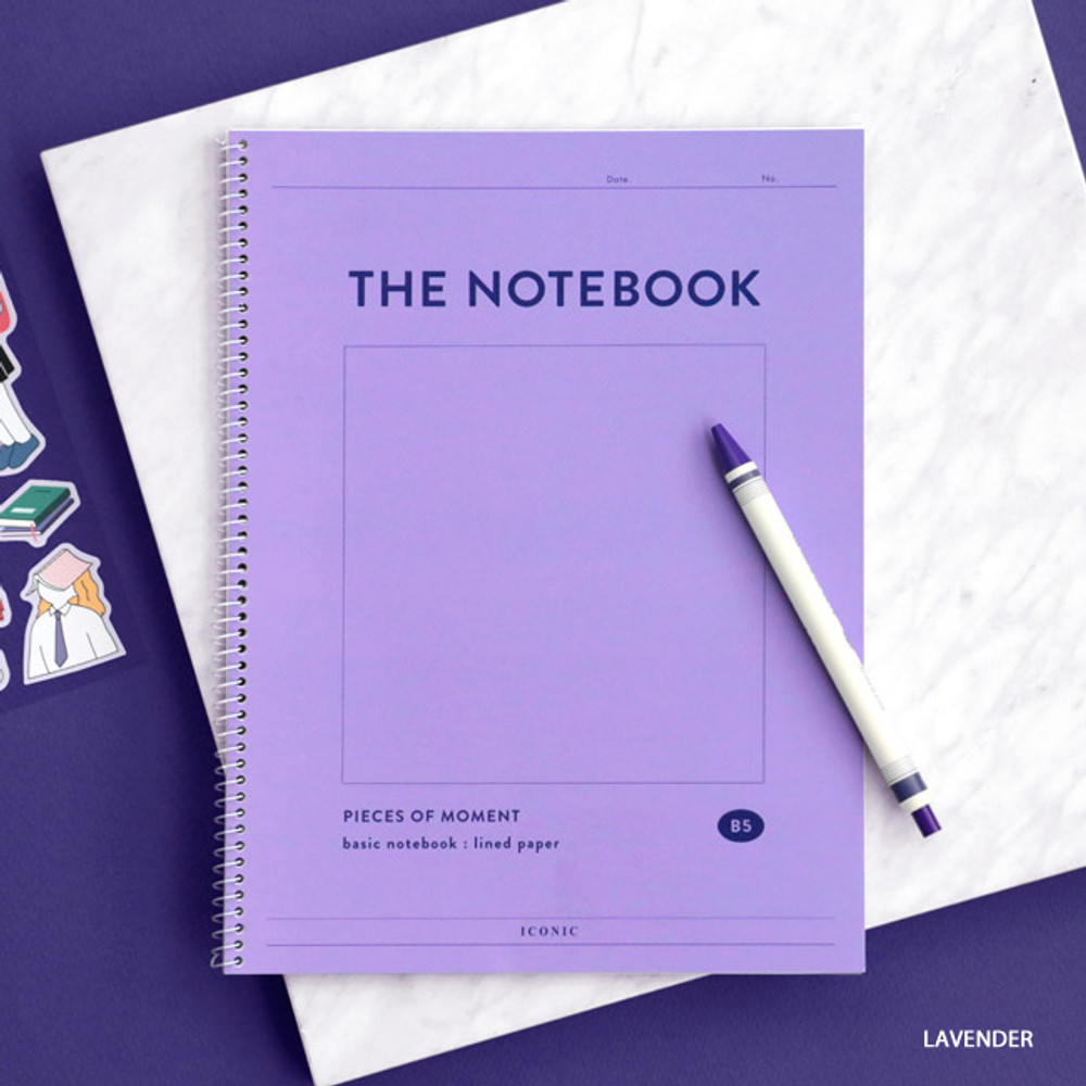 Lavender - ICONIC Pieces of moment basic spiral B5 lined notebook