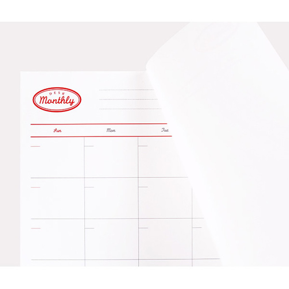 Easy tear off - NACOO Red A4 size dateless desk monthly planner scheduler