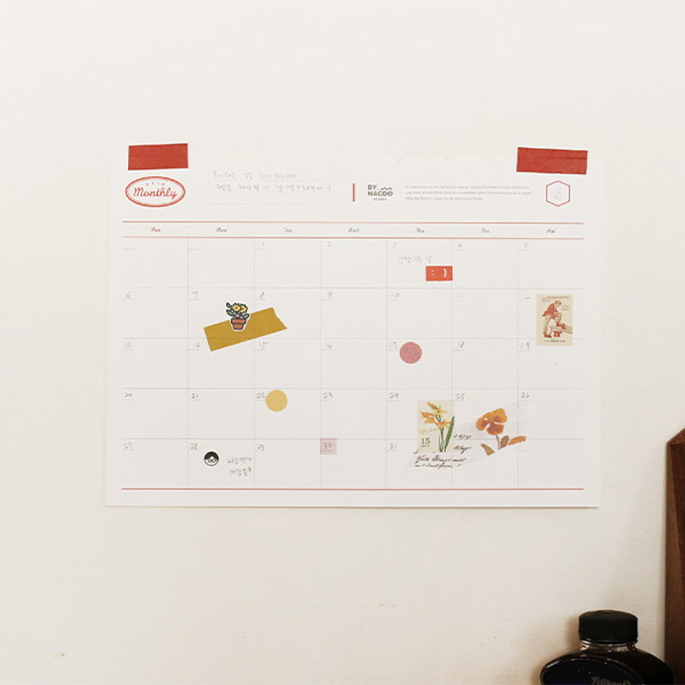 Usage example - NACOO Red A4 size dateless desk monthly planner scheduler