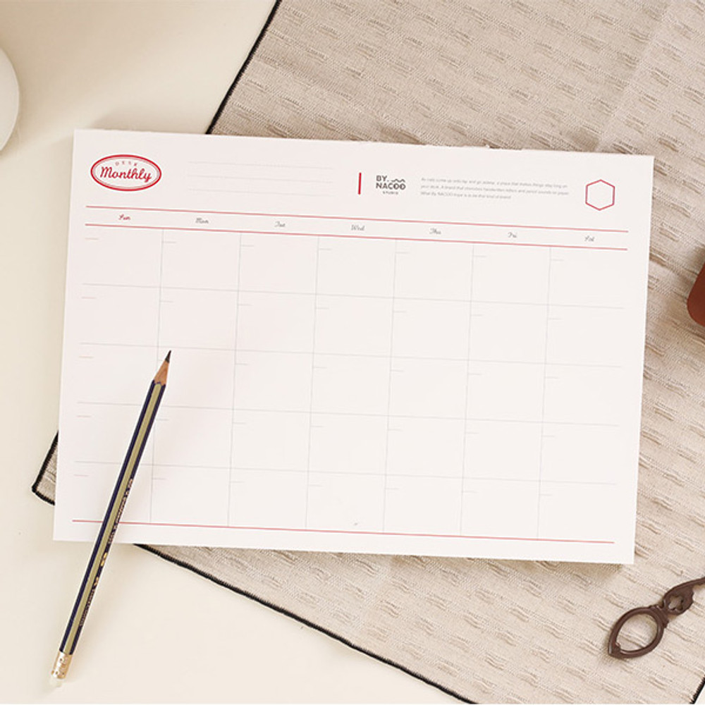 NACOO Red A4 size dateless desk monthly planner scheduler