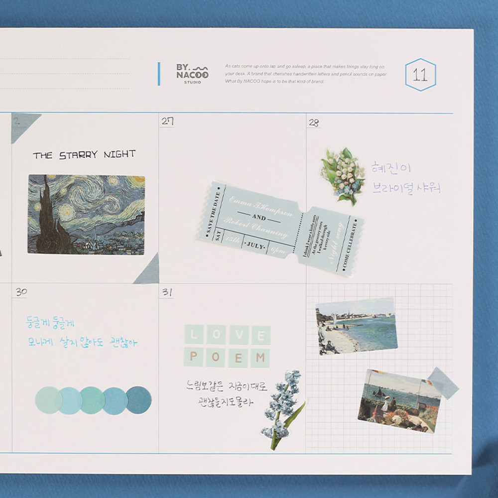 Usage example - NACOO Blue A4 size dateless desk weekly planner scheduler