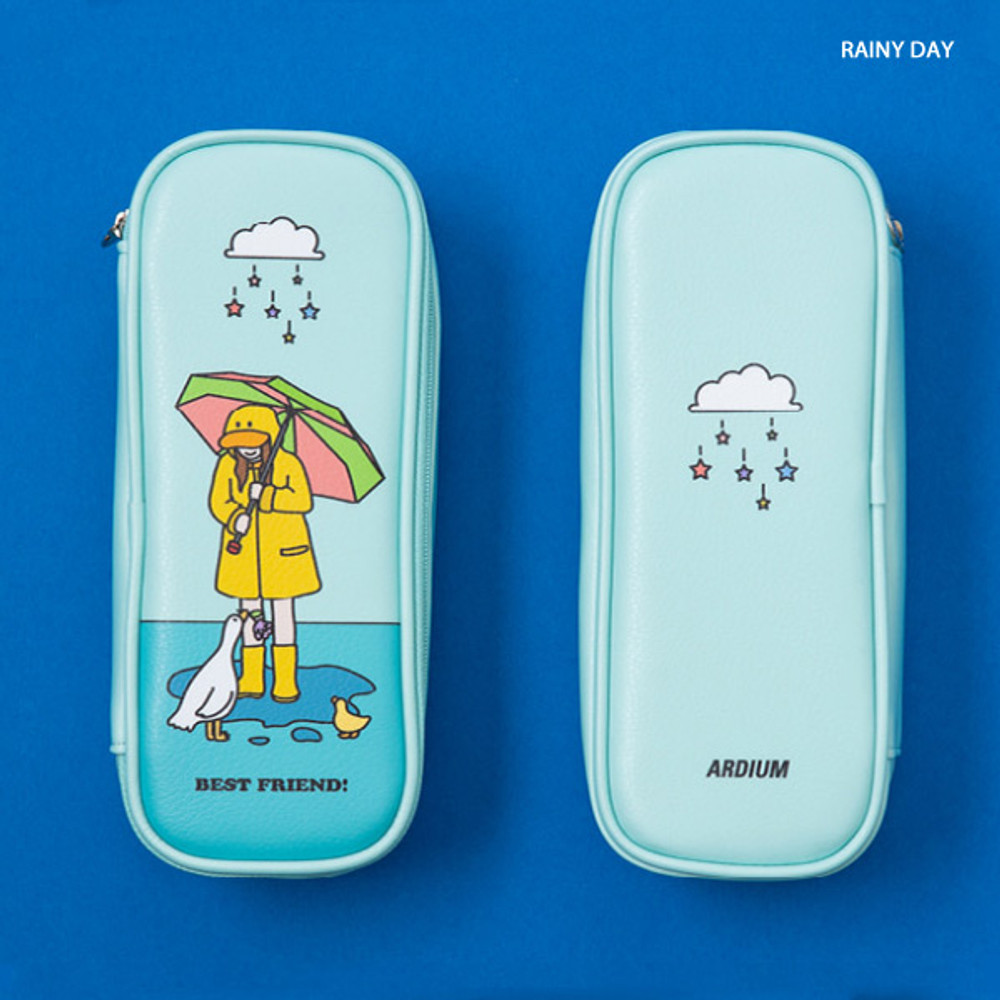 Rainy Day - Ardium Color point block zip pencil case pouch
