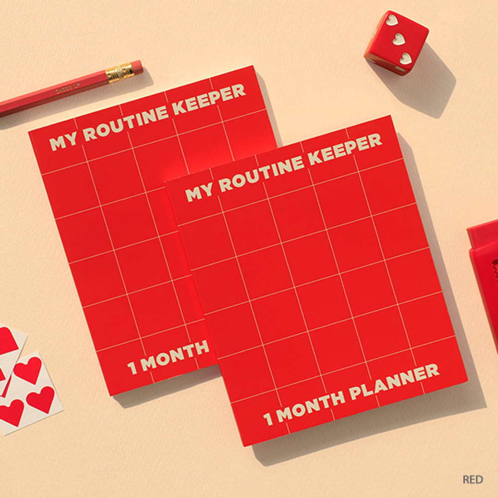 Red - My routine keeper 1 month dateless weekly planner scheduler