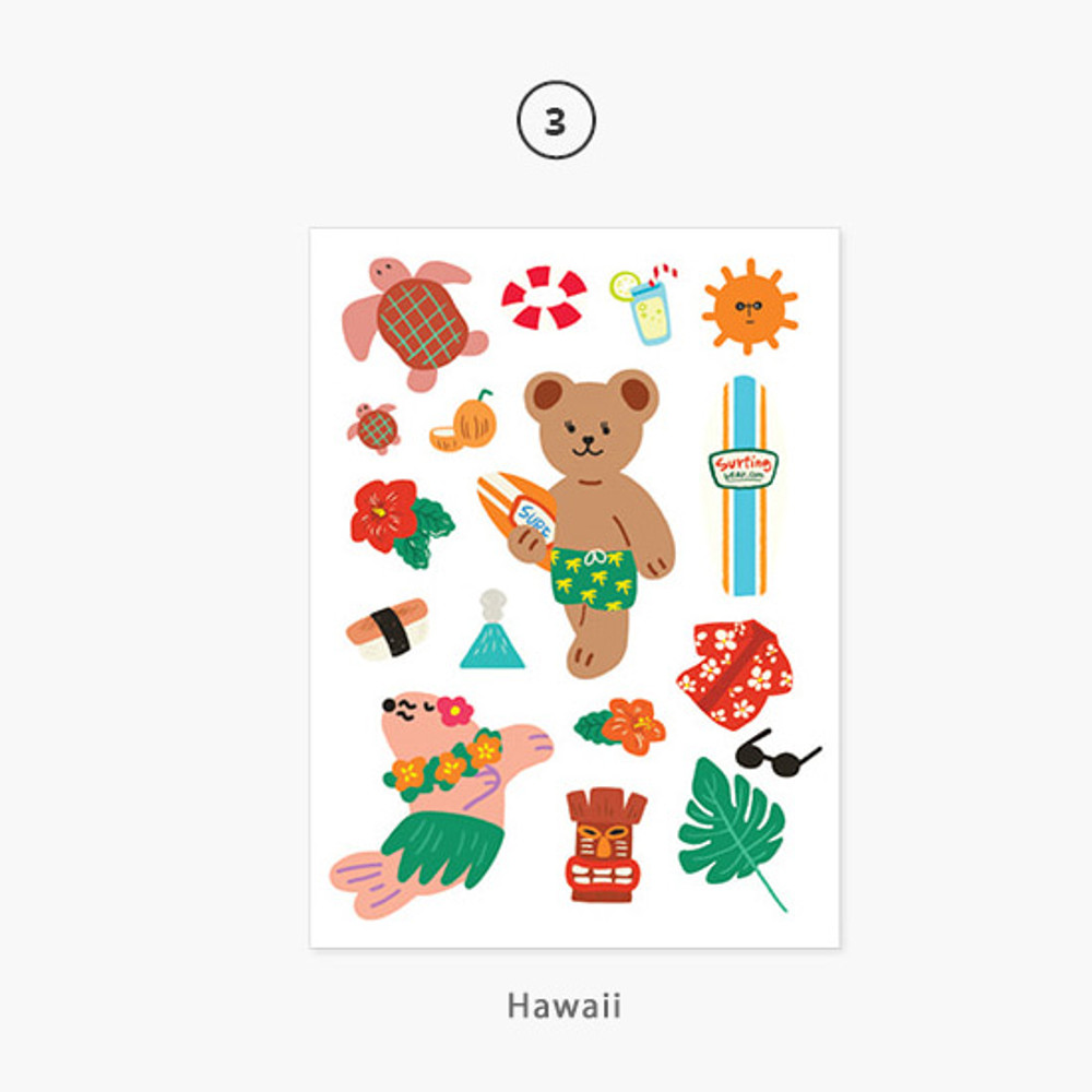 03 Hawaii - Project country my juicy bear removable sticker