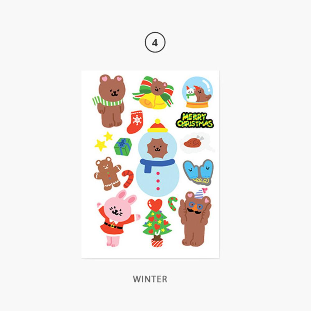 Winter - Project season my juicy bear removable sticker