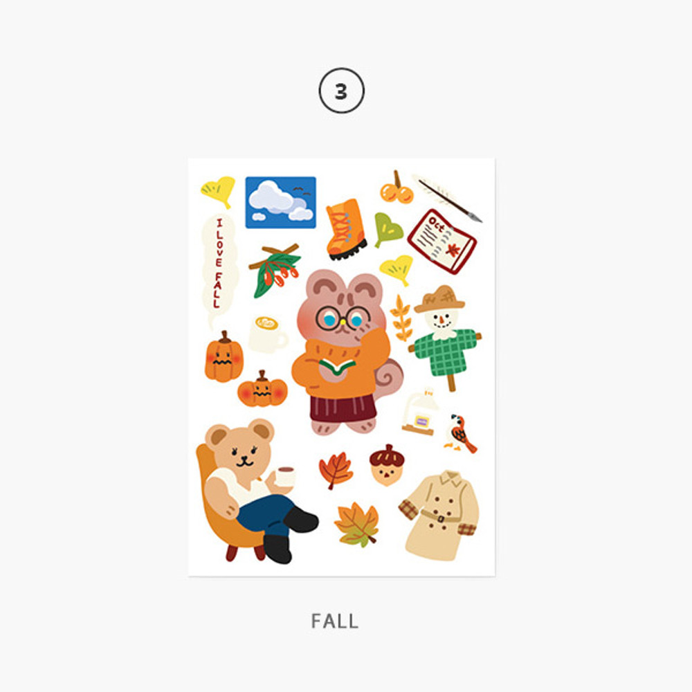 Fall - Project season my juicy bear removable sticker