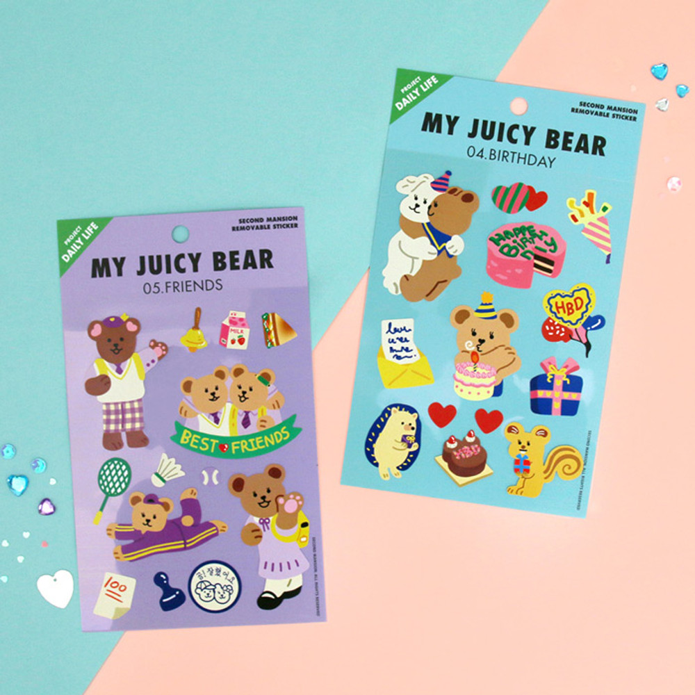 Usage example - Project daily life my juicy bear removable sticker