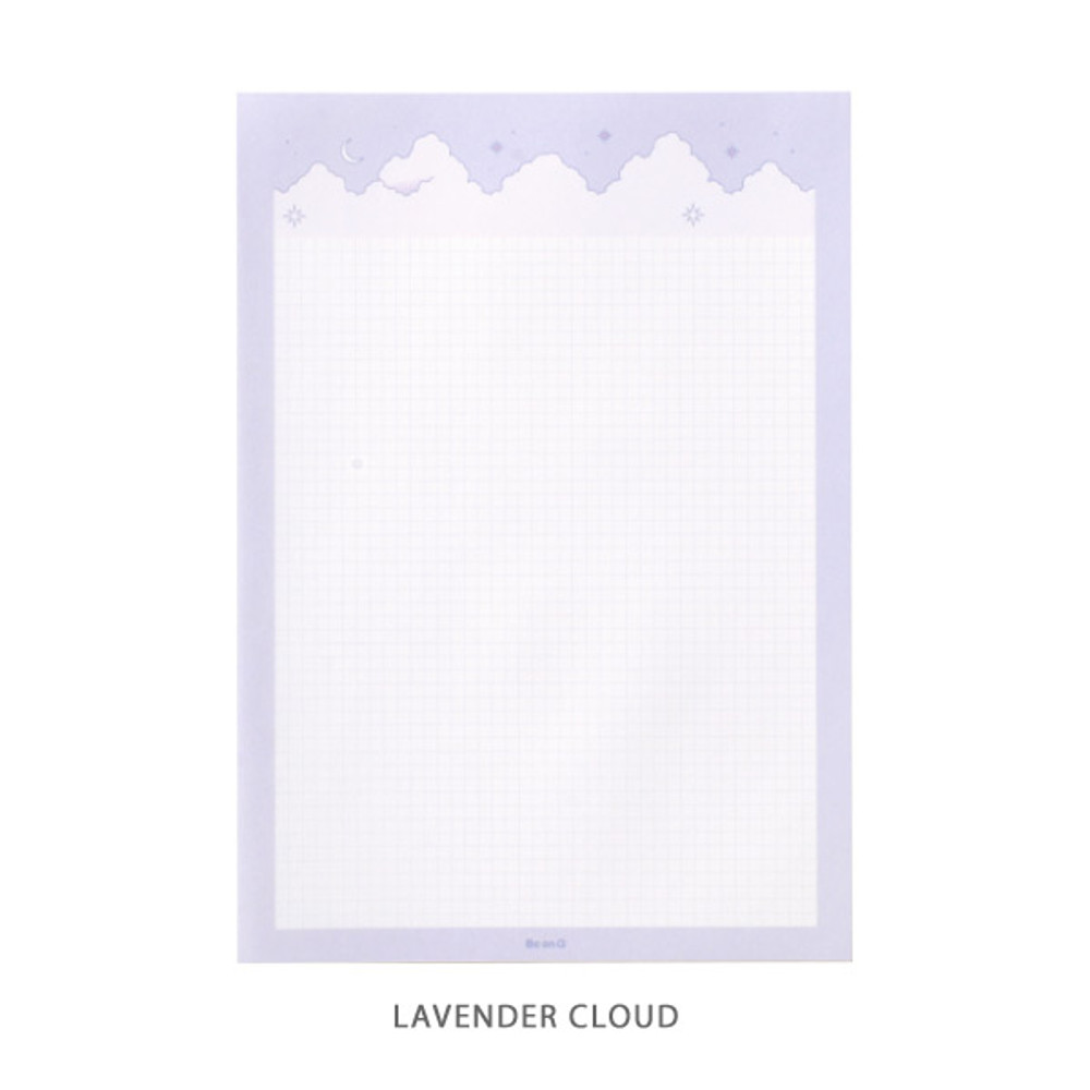 Lavender cloud - Cloud and Mountain B5 size grid notes memo notepad