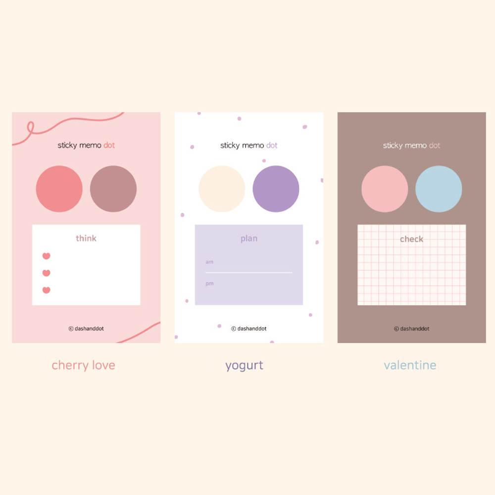 Option - Dash and Dot And dots memo notes sticky notepad ver3