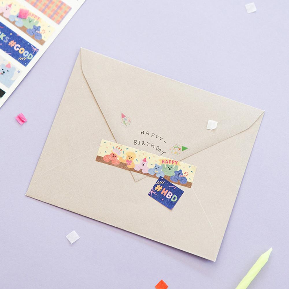 Usage example - Dailylike Jelly bear party masking seal sticker set