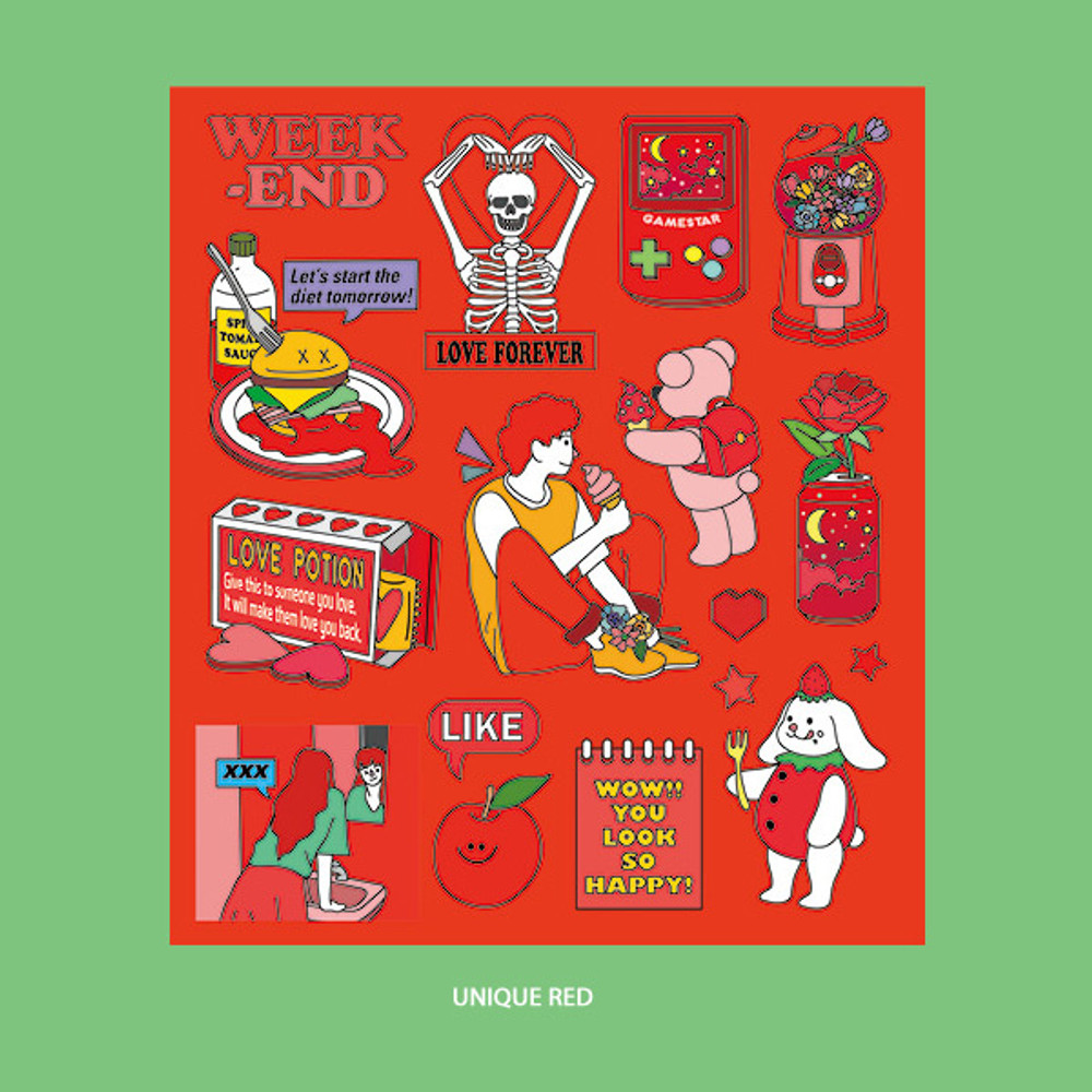 Unique Red - Ardium Pop illustration colorful point paper sticker ver4