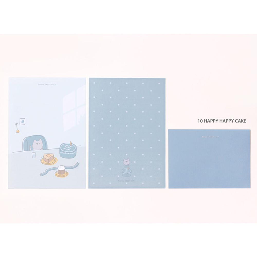 10 happy happy cake - My illustration letter always thank you envelope set ver2