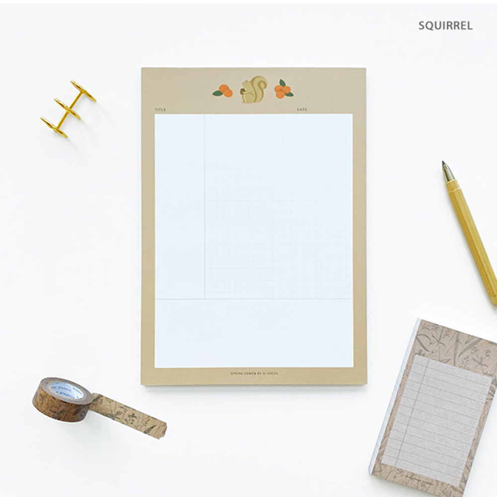 Squirrel - O-CHECK Vertical B5 Cornell study notes grid notepad