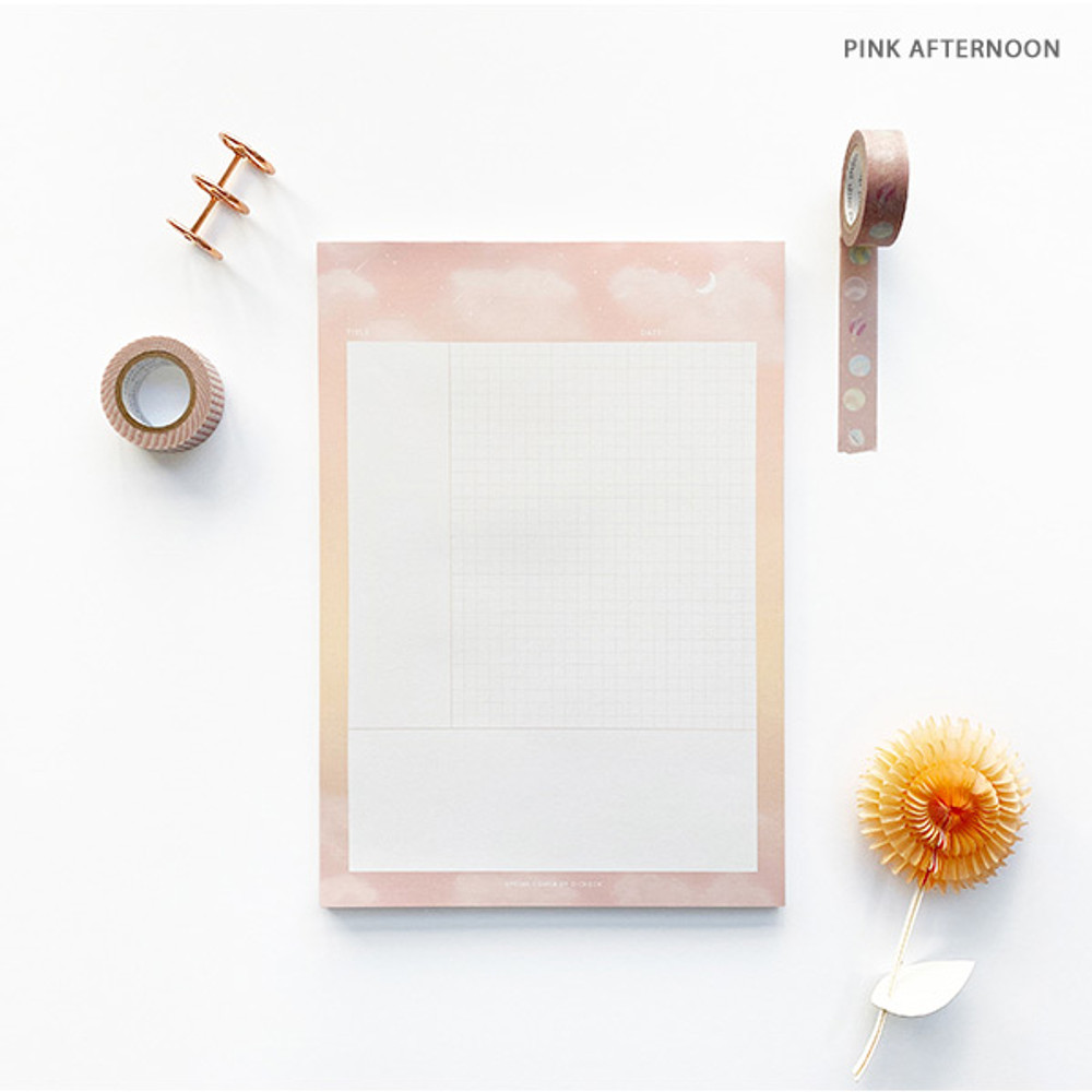 Pink Afternoon - O-CHECK Vertical B5 Cornell study notes grid notepad
