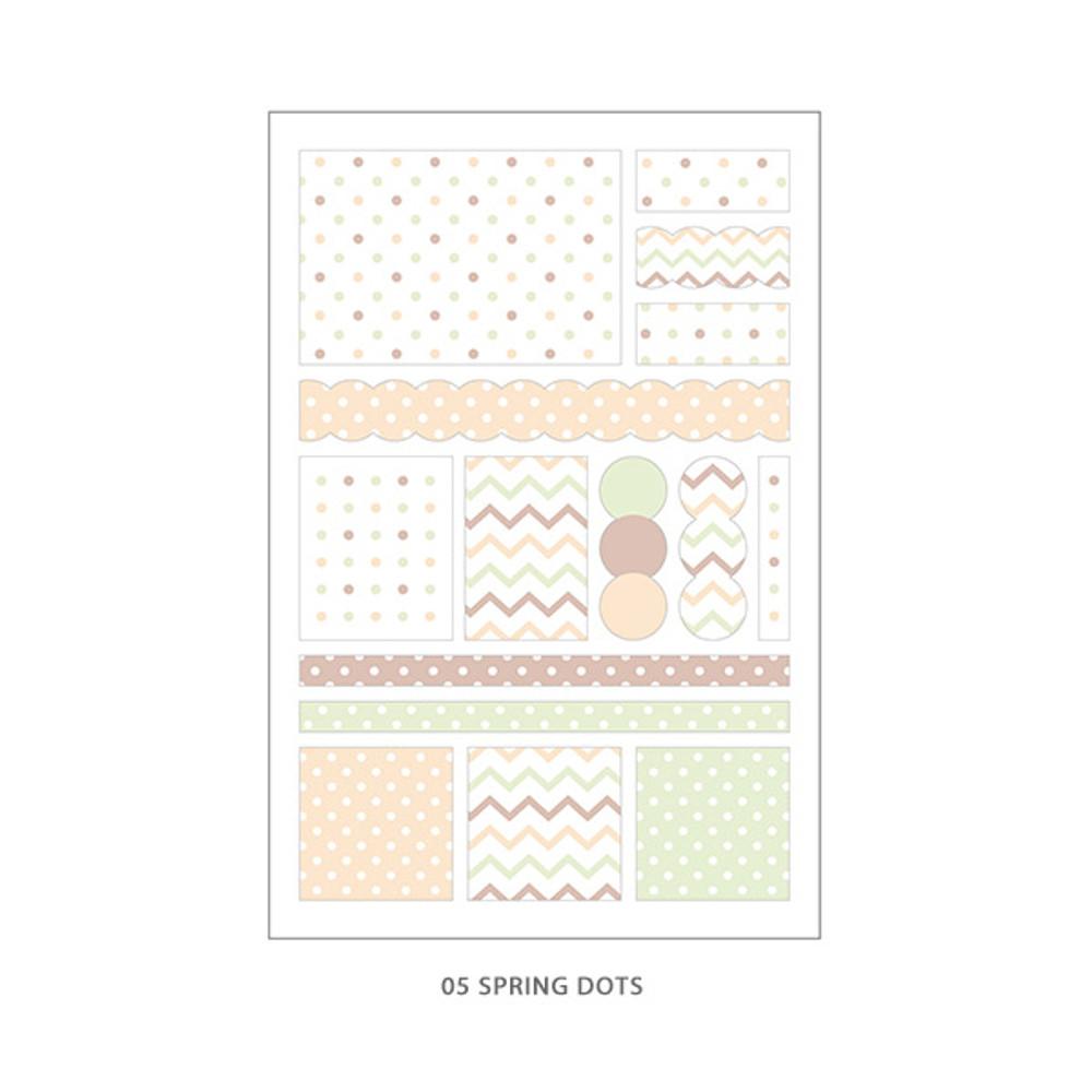 05 Spring Dots - PLEPLE Pattern paper deco sticker set