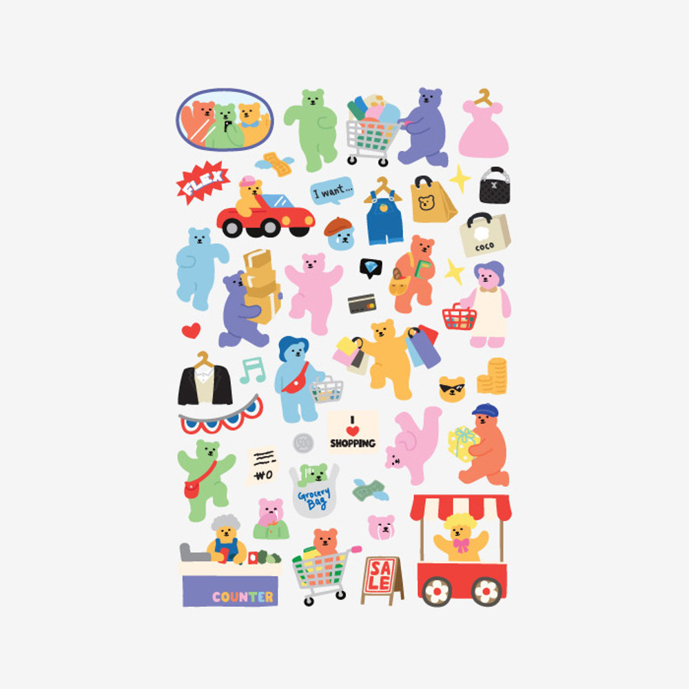 Dailylike Jelly bear Shopping paper removable sticker