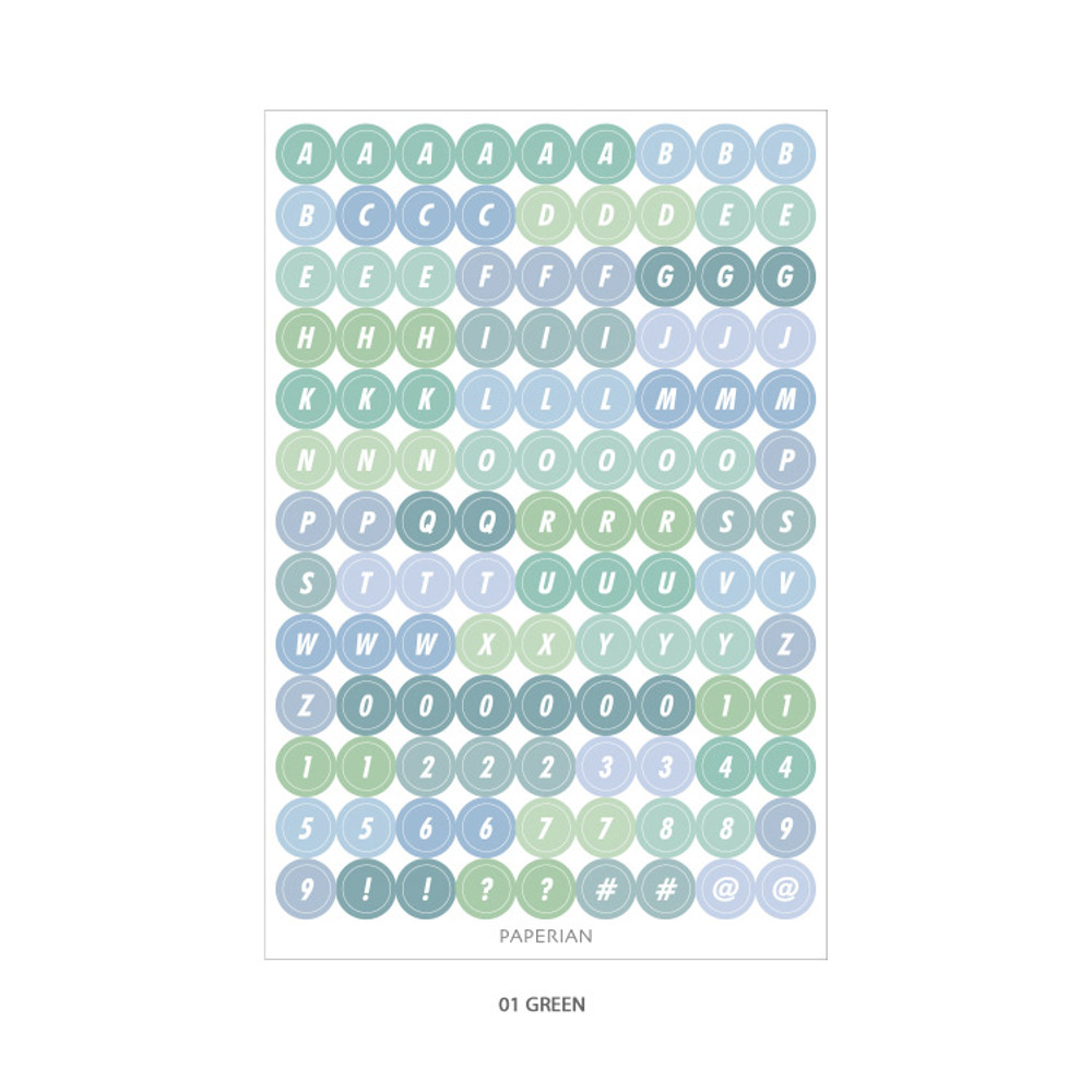 01 Green - PAPERIAN Color palette Alphabet and Number deco sticker set