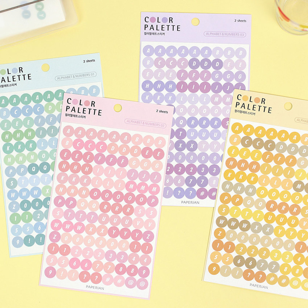 PAPERIAN Color palette Alphabet and Number deco sticker set