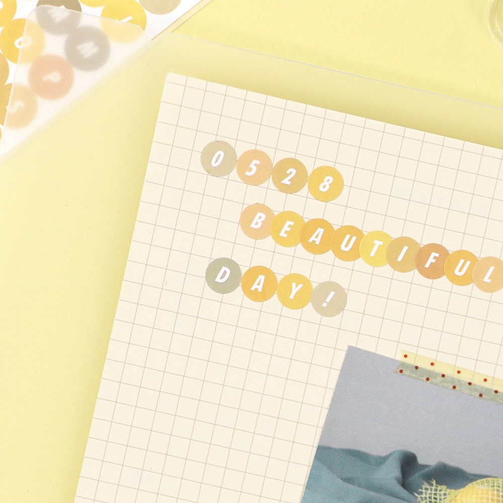 Usage example - PAPERIAN Color palette Alphabet and Number deco sticker set