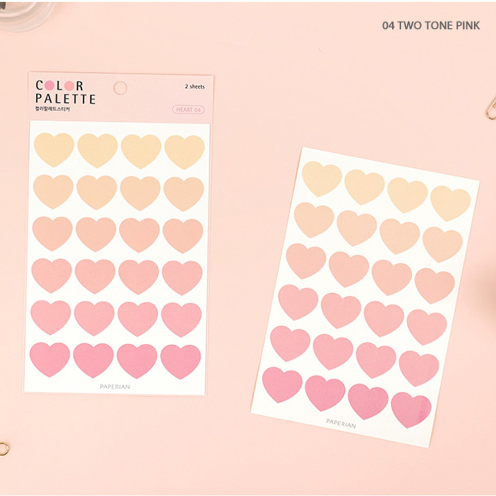 04 Two tone Pink - PAPERIAN Color palette Heart deco sticker set