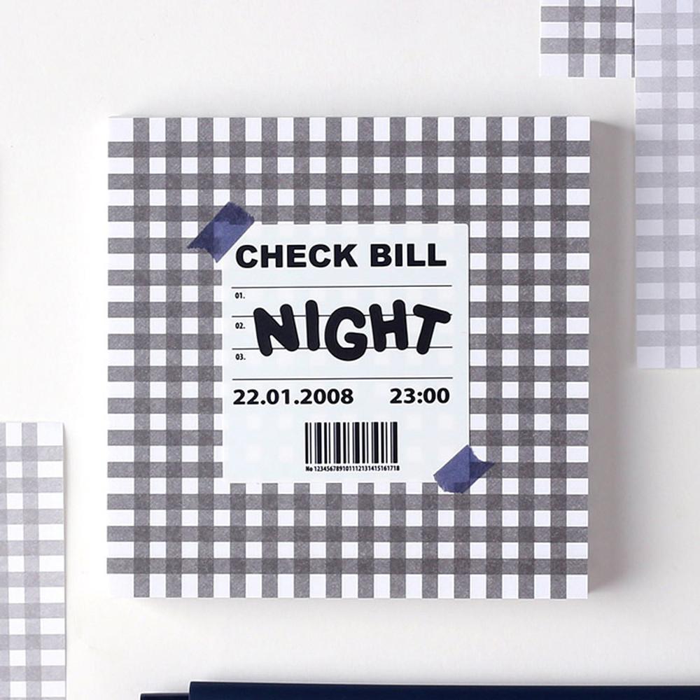 Night - Wanna This Picnic 3mm check 4 designs memo notes notepad