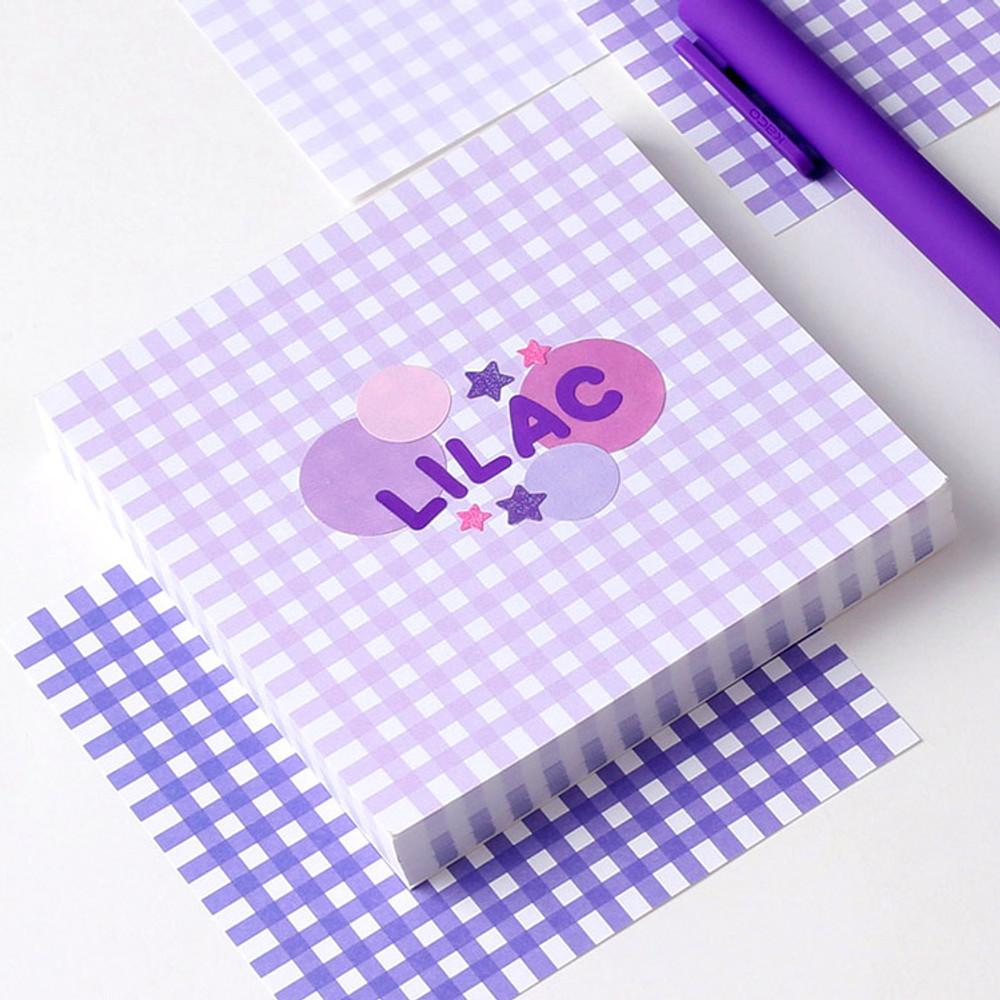 Lilac - Wanna This Picnic 3mm check 4 designs memo notes notepad