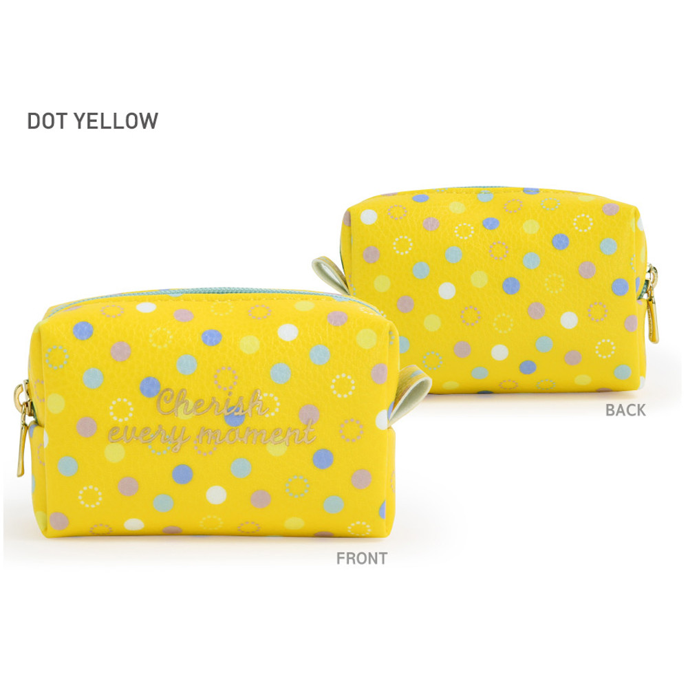 Dot Yellow - Monopoly Cherish every moment small PU zipper pouch case